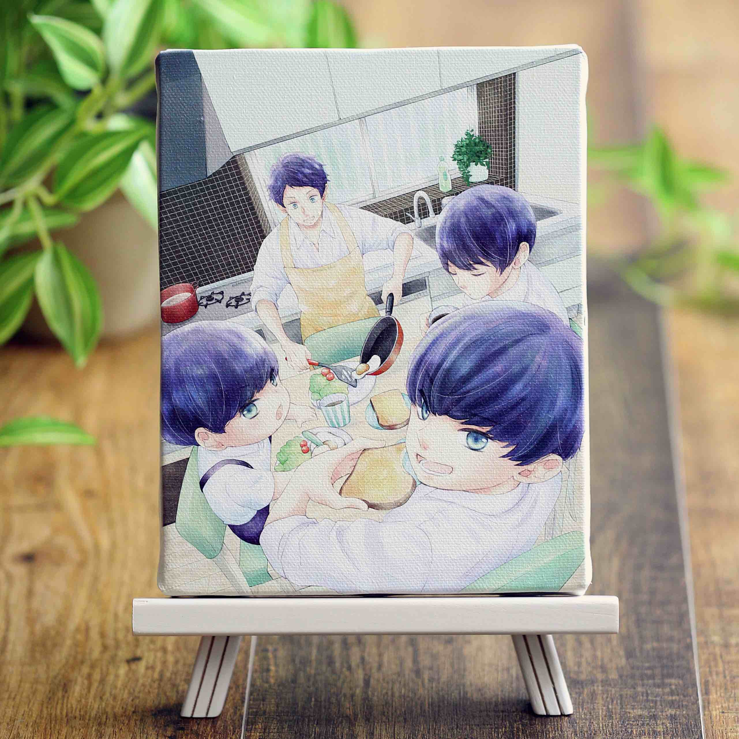 藤沢志月先生「柚木さんちの四兄弟。」イーゼル付きキャンバスアートA(中)