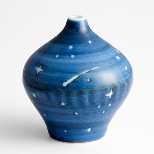 """小玉ユキ先生画業20周年記念『青の花 器の森』""""星空""""一輪挿し"""