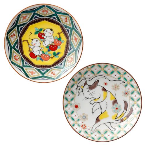 波津彬子先生画業40周年記念 オリジナル九谷焼豆皿 2枚セット